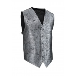 Shiny Paisley Textured Dress Vest in Mercury Metallic Silver