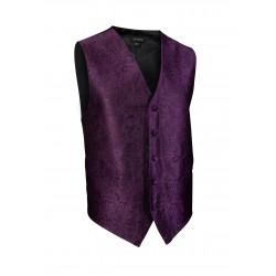 Paisley Textured Designer Vest in Berry Purple