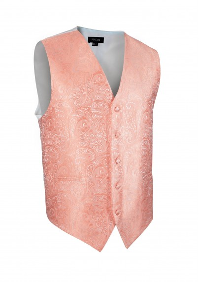 Shiny Wedding Paisley Textured Vest in Coral Bellini