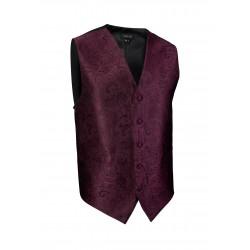 Burgundy Paisley Textured Dress Vest