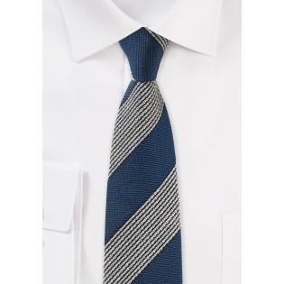 Navy Retro Striped Skinny Tie knit woven textured vintage striped mens tie