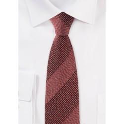 Slim Cut Textured Weave Striped Tie in Ochre Red