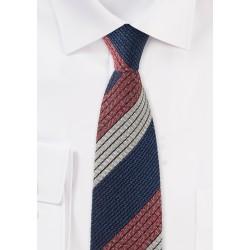 Retro Striped Tie in Knit Texture
