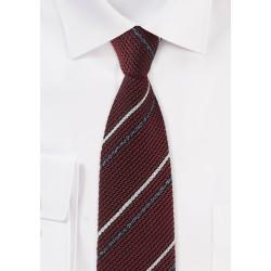 Knit Texture Striped Tie in Burgundy