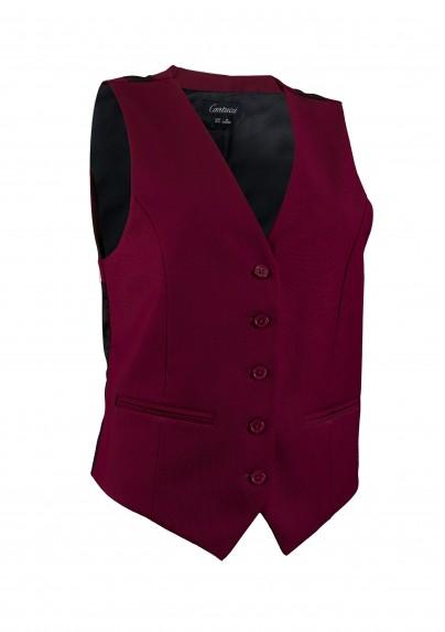 Women's Suit Vest in Deep Burgundy Red