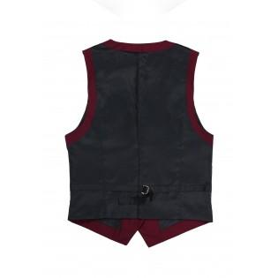 Women's Suit Vest in Deep Crimson Red Back