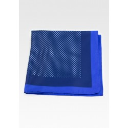 Blue Dress Pocket Square with White Pin Dots