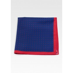 Navy Suit Pocket Square with Red Dots in Dark Blue