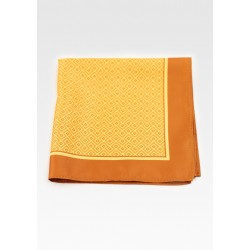 Geometric Print Suit Pocket Square in Gold and Yellow