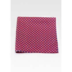 Suit Pocket Square in Red with Flower Print in Pink and Blue