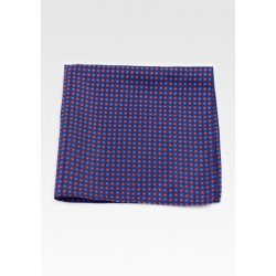 Navy Suit Hanky with Geometric Floral Print