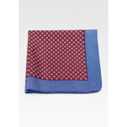 Designer Suit Hanky in Wine Red and Blue