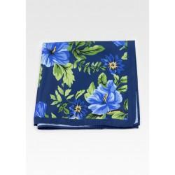 Dark Blue Pocket Square with Floral Hawaiian Print