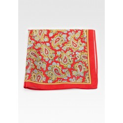 Bold Summer Paisley Pocket Square in Bright Red with Gold Paisley Design