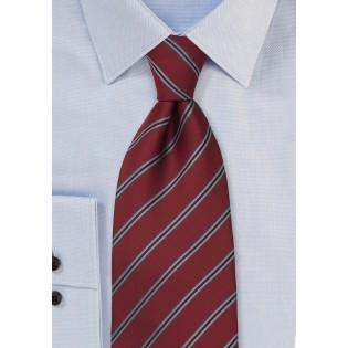 Carnelian Red Neck Tie with Blue Stripes