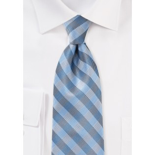 Plaid Micro Woven Tie in Blues and Silvers