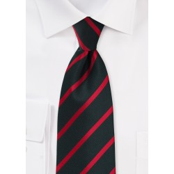 Black and Red Repp-Stripe Tie