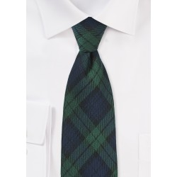 Wool Tartan Plaid Tie in Green and Navy
