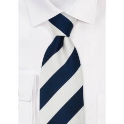 Navy Blue & White Striped Silk Tie for Kids