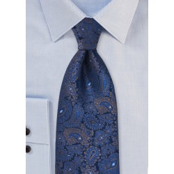Elegant Woven Paisley Tie in XL Length