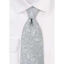 Silver Gray Paisley Neckti