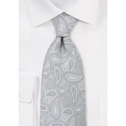 Silver Gray Paisley Necktie in XL