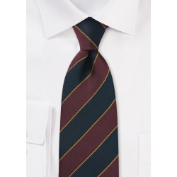 Extra Long British Repp Tie in Burgundy and Navy