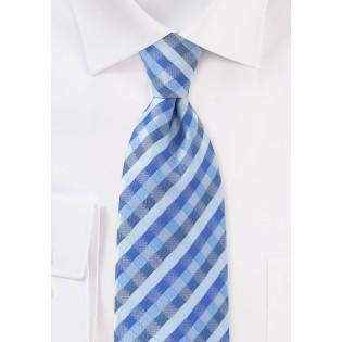 Tonal Blue Check Tie