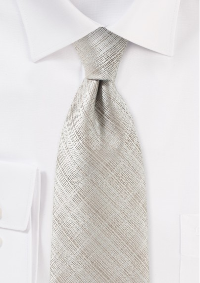 Geometric Check Tie in Stone Gray