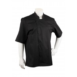 Mens Short Sleeve Chef Cooking Jacket in Black Front