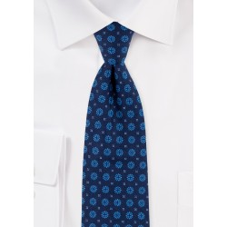 Slim Cut Cotton Tie in Navy with Geometric Design Print