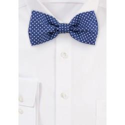 Royal Blue Geometric Print Cotton Bow Tie