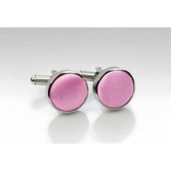 Pink Fabric Covered Cufflinks