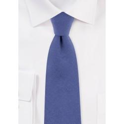 Textured Cotton Skinny Tie in Indigo Blue