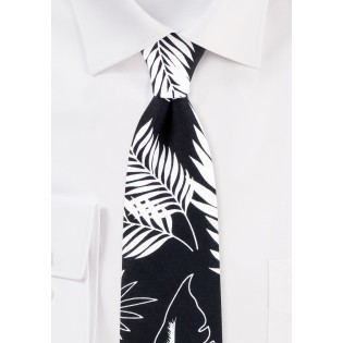 Tropical Palm Leaf Print Tie in Black and White