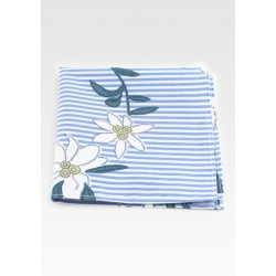 Striped Hanky with Embroidered Florals