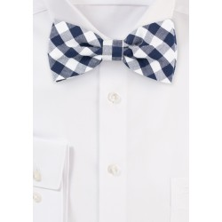 Blue and White Gingham Bow Tie