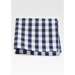 Gingham Check Hanky in Blue and White
