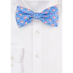 American Flag Bow Tie in Light Blue