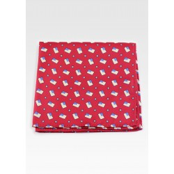 Red Pocket Square with American Flags
