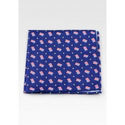 Royal Blue Pocket Square with US Flags