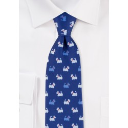 Royal Blue Mens Tie with Dog Terrier Print