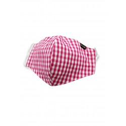 Gingham Check Cotton Mask in Pink