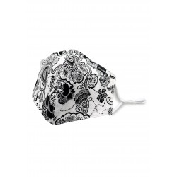 White Filter Mask with Black Floral Paisley