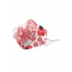 Red and White Floral Paisley Cotton Filter Mask