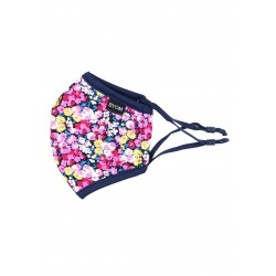 Navy and Pink Flower Print Kids Mask
