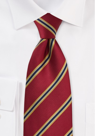 British Tie in Crimson-Red and Yellow