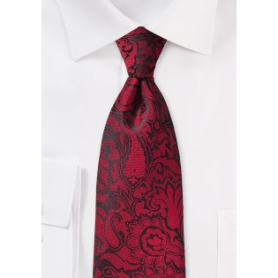 XL Length Paisley Tie in Chili Red