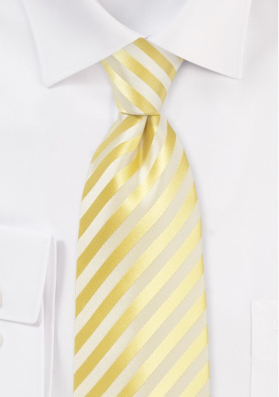 Solid Striped Tie in Daffodil Yellow