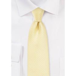 Narrow Pin Dot Tie in Vanilla Yellow